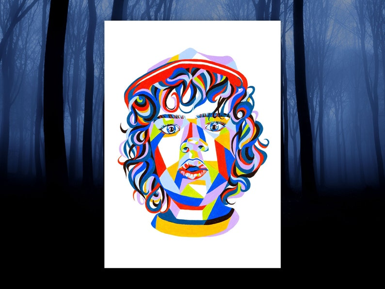 Stranger Things Inspired Dustin Home Wall Print  A4 Stranger image 0