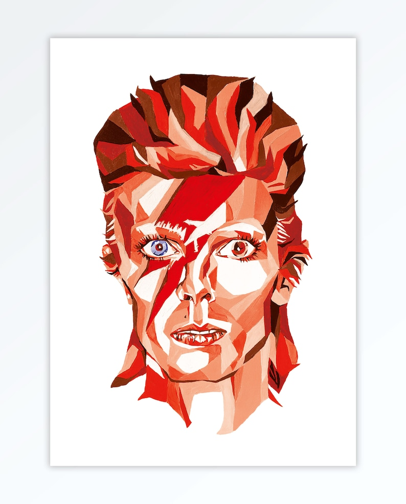 David Bowie Inspired Art Wall Print  Ziggy Stardust Aladdin image 0