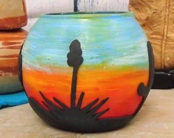 southwestern,  candle holder, southwestern decor, L.E.D candle holder, western art, desert decor, desert art, southwestern art,