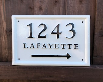 Victorian House Number Plaque Address Sign cast iron nameplate handmade custom personalised for you