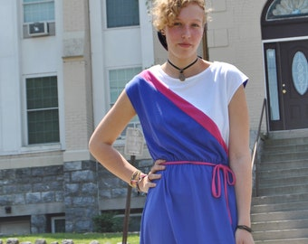 Vintage Jersey Knit 1980's Color-block Cap sleeve Dress, stretch waist with tie, blue/white/pink