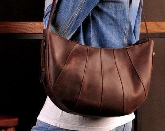 Leather brown hobo bag Leather brown messenger bag  Brown shoulder hobo bag Womans brown hobo bag Leather zip brown bag