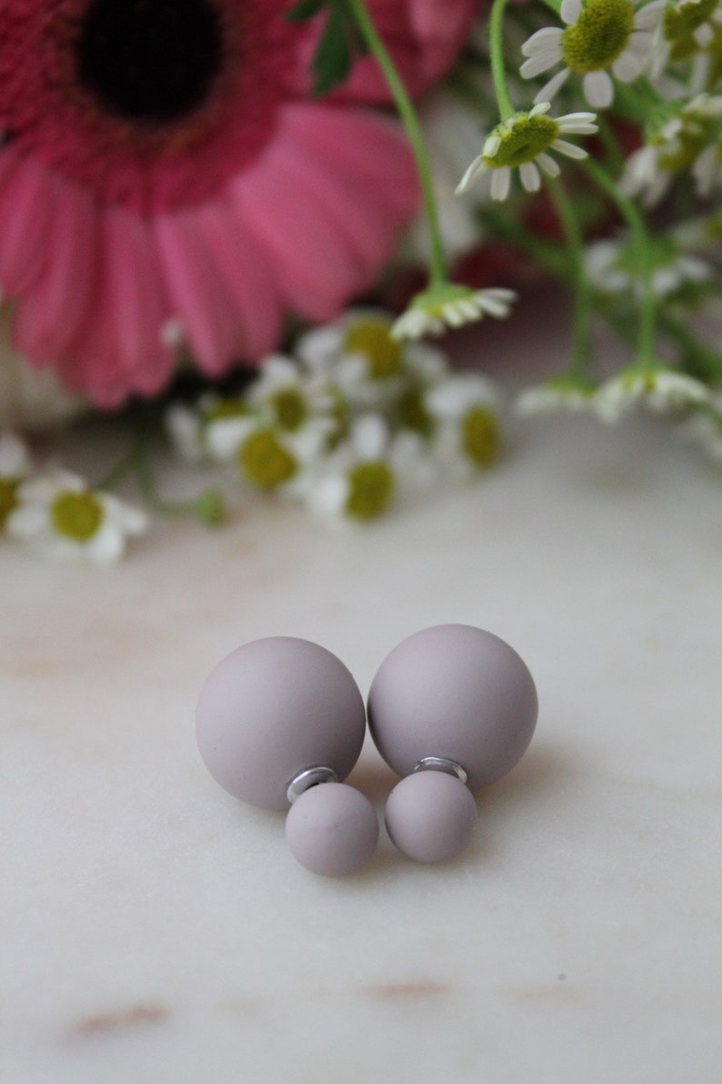 20/% off sale LILAC Mauve Purple Double Ball Stud Earrings Minimalist Chic Double Sided Front Back Earrings