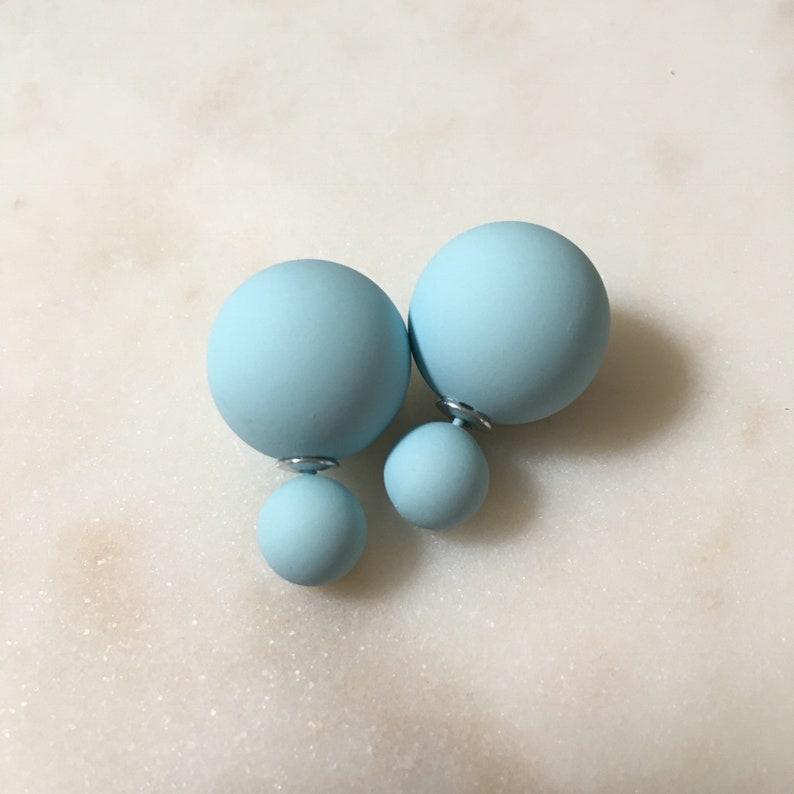 20/% off sale Matte POWDER BLUE Double Ball Stud Earrings Minimalist Chic Double Sided Front Back Earrings