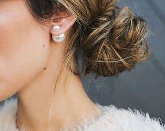 20% off sale PEARL Double Ball Stud Italian EARRINGS Minimalist Chic Double Sided Front Back Earrings