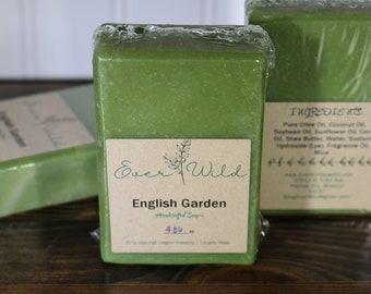 English Garden Soap, Handcrafted Soap, Bath Soap, Handmade Soap, Natural Soap, Palm Free Soap, Floral scented Soap, Bar Soap, Cruelty Free