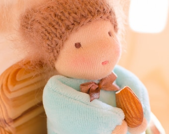 Waldorf doll boy Small doll 6,5 inches for dollhouse Waldorf pocket doll Light blue colour velour Fluffy hat gift Soft doll for toddler