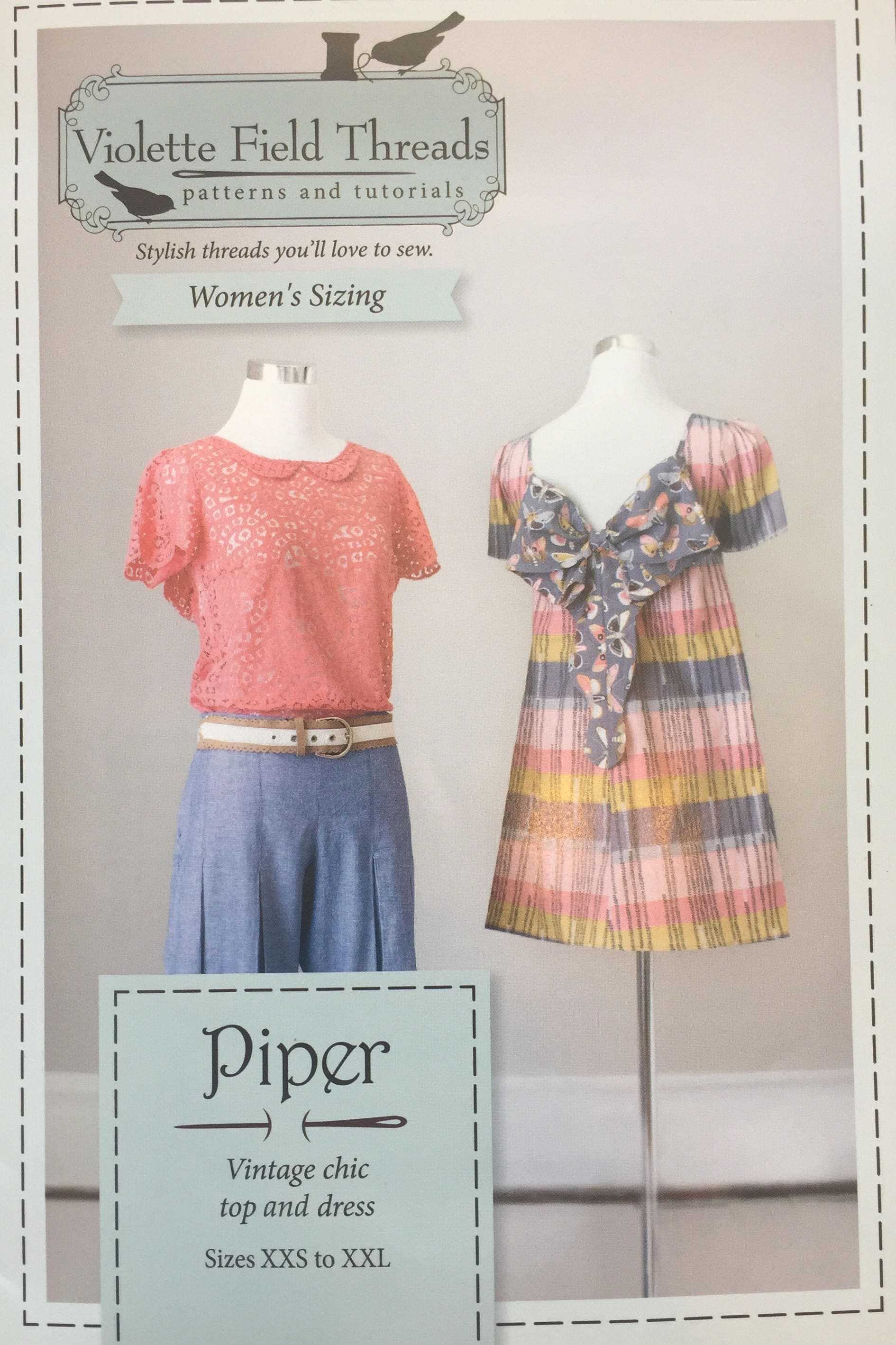 New Violette Field Threads Sewing Patterns-Madelyn Collard Shirt /& Bow Headband