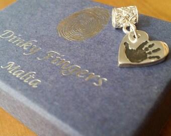 Handprint Charm, Handprint Necklace, Handprint Pendant, Handprint Jewellery, Personalised silver Pandora compatible charm. FREE EU SHIPPING