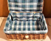 Little Vintage Rattan Panier Vintage Trunk Vintage Suitcase With Checked Lining