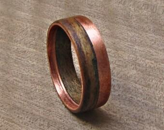 Walnut Wood And Copper Wedding Ring Rustic Mens Wedding Band Etsy
