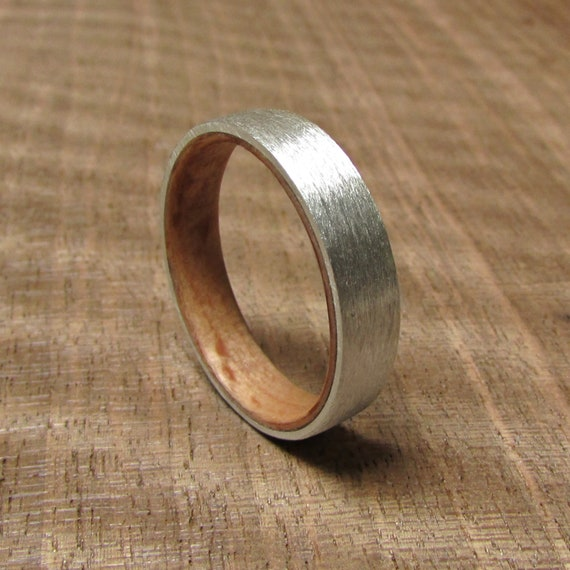 Beech Wood And 925 Silver Wedding Band Metal And Wooden Rings Etsy