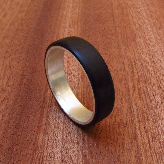 Eucalyptus Wood And Silver Wedding Band For Men 5th Etsy
