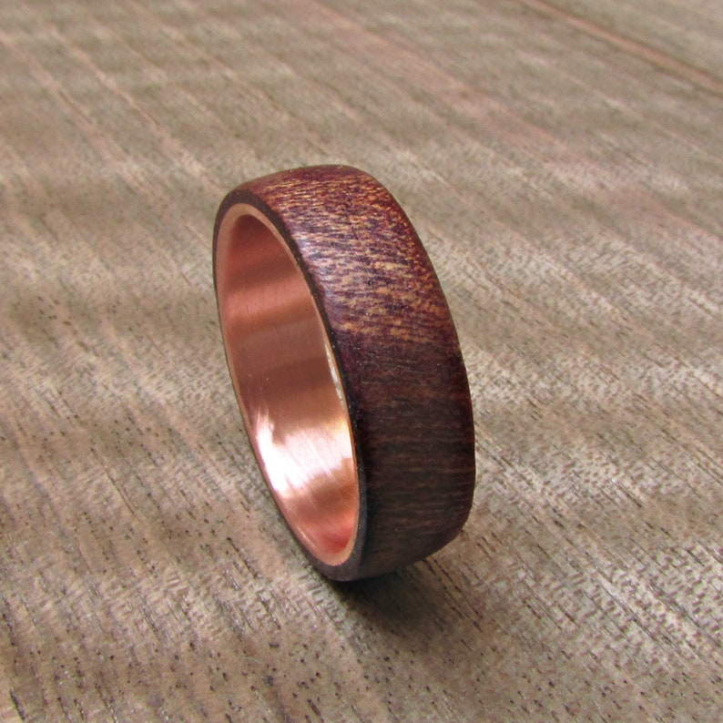 55750d8f2e406 Burgundy wood and copper wedding band, Dark red Men's ring, 5 year  anniversary gift for him, Alternative Country wedding jewelry for men