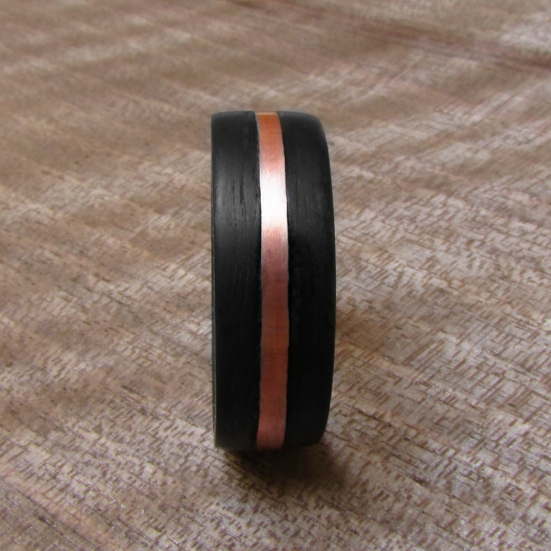 7 year anniversary gift for husband Hypoallergenic wooden jewelry for men Matte black wedding band for him Dark Eucalyptus and Copper