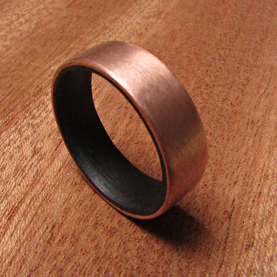 Rustic Copper Wedding Band 7 Year Anniversary Gift For Him Etsy