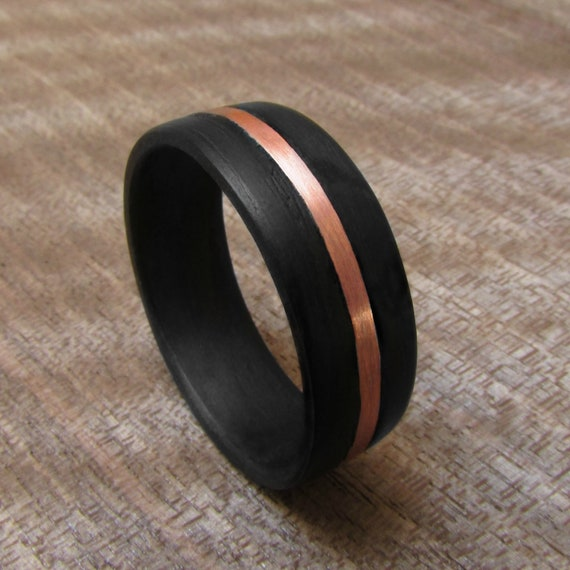Matte Black Wedding Band For Him Dark Eucalyptus And Copper Etsy