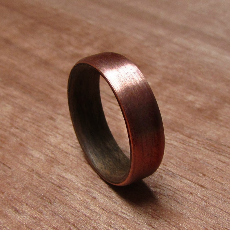 59bb182ff27df Walnut Wood and Copper wedding ring, Rustic mens wedding band, 7 year  anniversary gift for husband, Men's Handmade Wooden Jewelry
