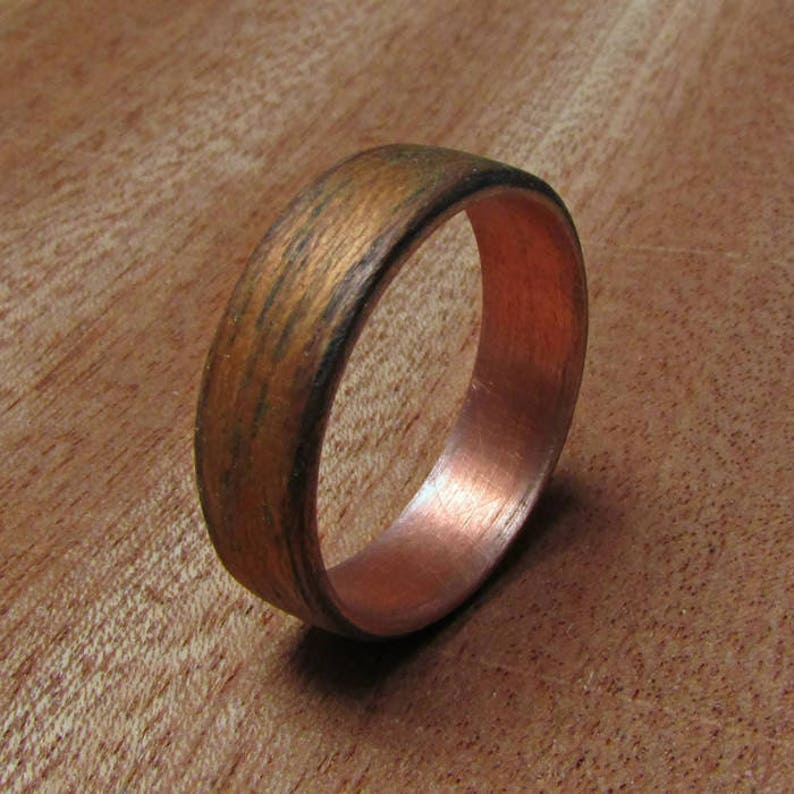 Wood Wedding Band.Wooden Wedding Bands Copper And Wood Ring Anniversary Gift Ideas Rustic Copper Ring For Men Birthday Gift For Husband Ideas