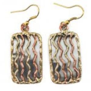 Patina Mixed Metal Earrings Nickel Free Earrings Boho Chic Handmade