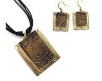 Pewter jewelry, Pewter Necklace and Earrings Set - Sailboat, mixed metal jewelry