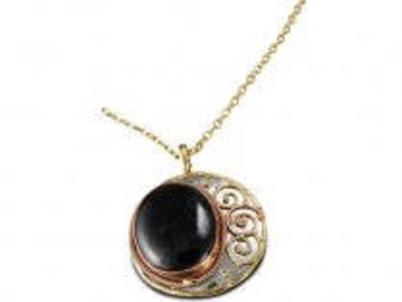 Copper Brass Necklace Nickel Free Black Onyx Pendant Boho Chic Handmade