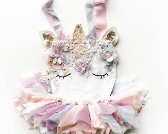 9bd16cf8abaa Enchanted Magical Unicorn first birthday outfit. Unicorn baby costume.  Photography prop romper. Magical whimsical unicorn outfit cora and