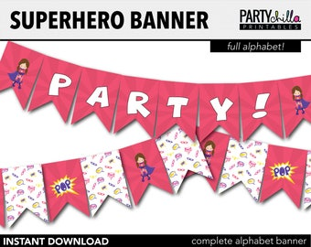 Superhero Girl Party Decorations Banner Printables Birthday Bunting