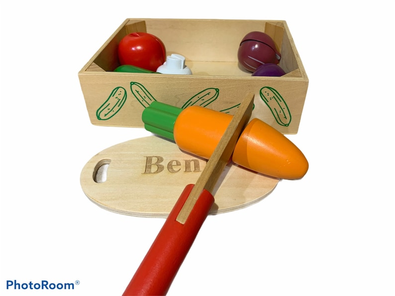 Pretend Role Play Food Wooden Toys For The Kitchen Personalised Wooden Chopping Vegetable Set My First Customised Chopping Food Set
