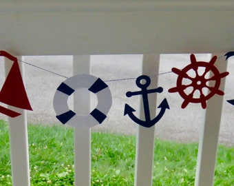 Nautical Garland, Nautical Banner, Anchor Banner, Navy and Red Nautical Banner