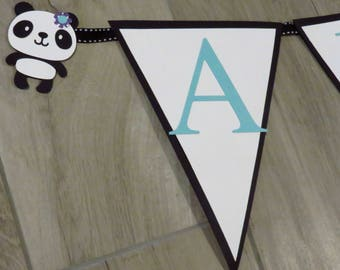 Panda Decoration, Panda Baby Shower Banner, Panda Bear Name Banner, Panda Birthday Banner, Panda Banner, Panda Bear Banner
