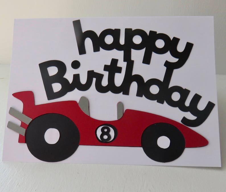 Race Car Birthday Card Red And Gray