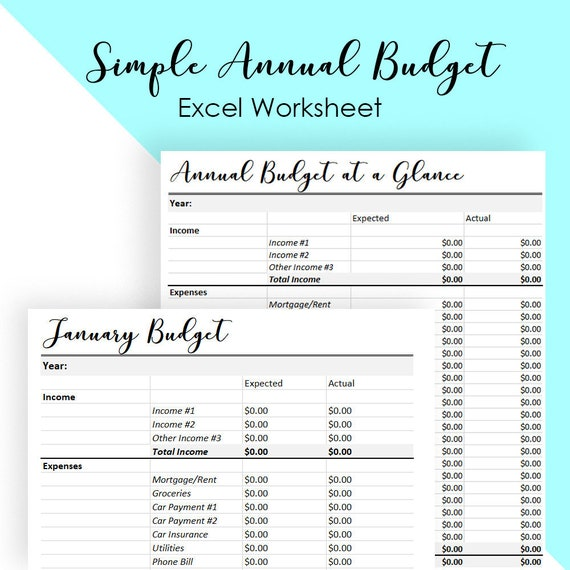 Monthly Budget Template Annual Budget Spreadsheet Simple Etsy