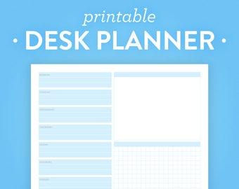 Weekly Desk Planner Printable - Instant Download - 8.5x11