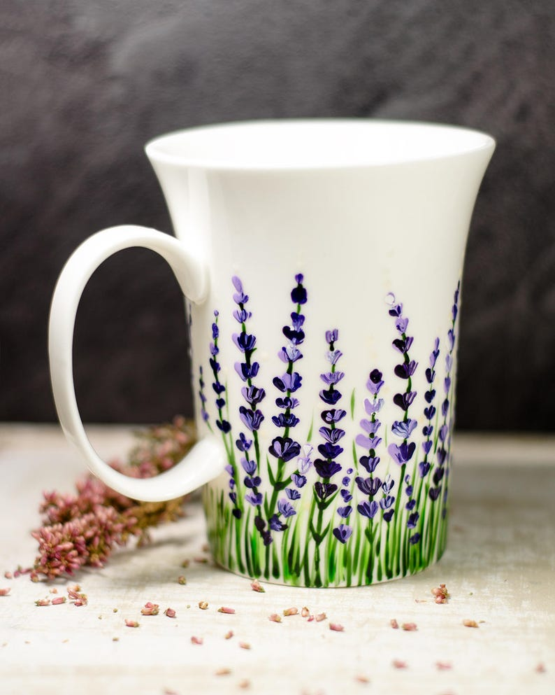 Lavender Coffee Mug Floral Ceramic Cup Personalized Christmas image 0