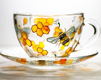 Bee Tea Cup and Saucer Personalized Mother's Day Gift, Tea Set Hand Painted Bee and Honeycomb Wedding Cup, Teacup and Saucer Set Grandma