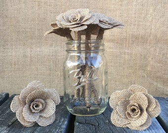 Natural/dark color Burlap Flower Pen / Wedding Guest book pen