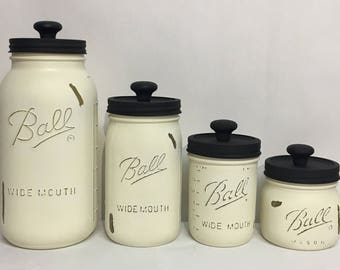 Set of 4 Wide Mouth Mason Jar Canisters