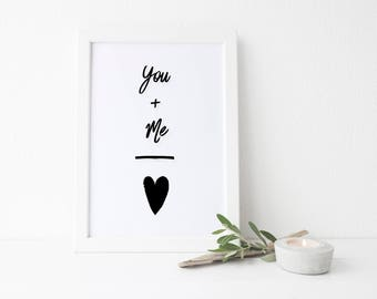You Plus Me Digital Print, 8x10 Print, 5x7 Print, Modern Art Print, Printable Instant Download, Printable Wall Art