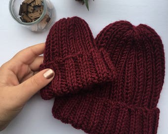 OOAK Mommy & Me Beanie Set in Burgundy | Cozy | Baby Hat | Touque Set