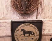 Primitive Early Antique Reproduction Framed Fine Antiques Rarities Vintage Collectables with Horse on Weathervane Sign Primitive Colonial