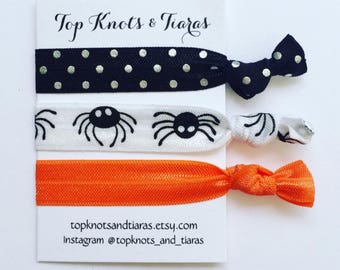 Halloween Spiders Elastic Hair Ties / Set of 3