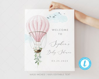 Vintage Birthday Party Welcome Sign A4 A3 PERSONALISED Pink Hot Air Balloon