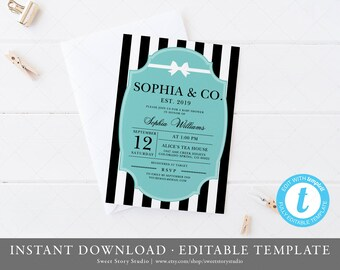 Tiffany invitations etsy baby and co baby shower invitation card instant download templett printable robin egg blue baby co breakfast at tiffanys dc037 maxwellsz