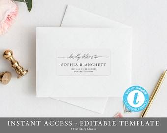 2x4 editable address label template instant download printable templett envelope address digital file for avery 4 x 2 label dc035