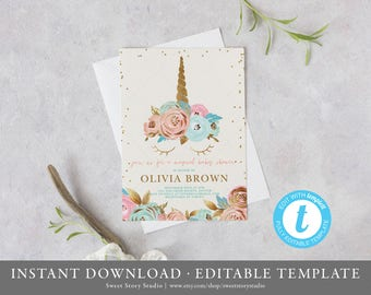 Blush Unicorn Baby Shower Invitation Card - Editable Invitation - Pink, Mint, Gold Glitter - Watercolor Magical | DC018