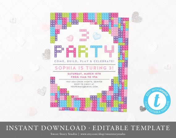 Building Blocks Birthday Invitation Card Editable Girls