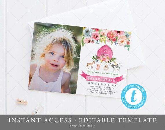 Farm Birthday Invitation Card Instant Download Templett Printable Animal Invite Girl Farm Birthday Party Barnyard Dc080