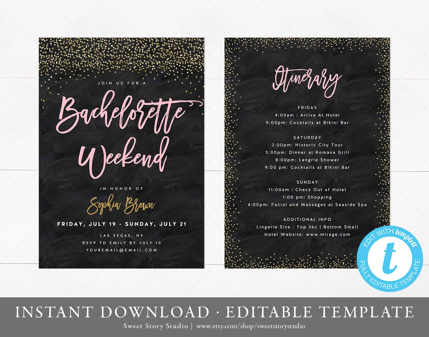 Bachelorette Weekend Invitation And Itinerary Card Instant Etsy