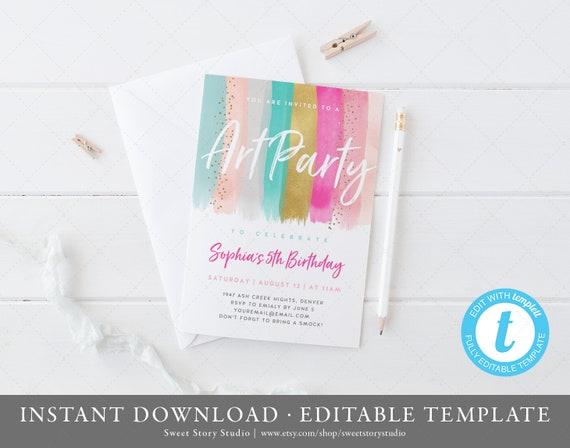 Art Party Birthday Invitation Card Instant Download Templett Printable Art Birthday Invitation Paint Party Girls Dc089